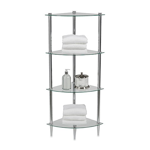 Creative Bath L Etager 4 Shelf Glass Corner Tower In