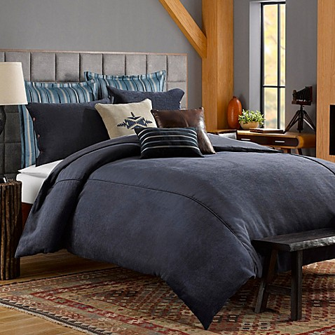 solid chenille duvet cover in indigo bed bath beyond. Black Bedroom Furniture Sets. Home Design Ideas