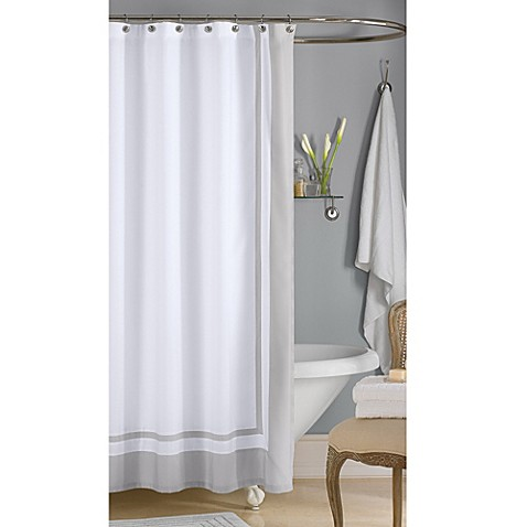 Wamsutta hotel shower curtain in grey bed bath beyond for Hotel drapes for sale