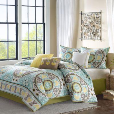 Madison Park Samara 7 Piece Queen Comforter Set In Blue