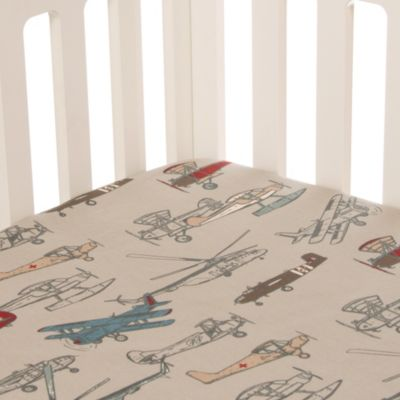 Glenna Jean Fly By Airplane Fitted Crib Sheet