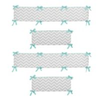 Sweet Jojo Designs Zig Zag Chevron Crib Bumper in Turquoise/Grey