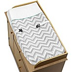 Sweet Jojo Designs Zig Zag Chevron Changing Pad Cover in Turquoise/Grey