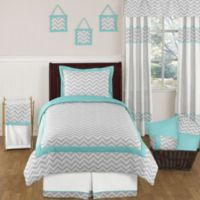 Sweet Jojo Designs Zig Zag 4-Piece Twin Bedding Set in Turquoise/Grey
