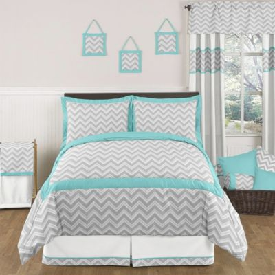 Sweet Jojo Designs Zig Zag 3 Piece Full/Queen Bedding Set In Turquoise/