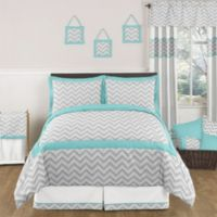 Sweet Jojo Designs Zig Zag 3-Piece Full/Queen Bedding Set in Turquoise/Grey