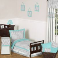 Sweet Jojo Designs Zig Zag 5-Piece Toddler Comforter Set in Turquoise/Grey