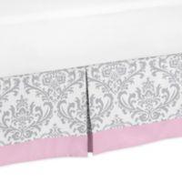 Sweet Jojo Designs Elizabeth Pleated Queen Bed Skirt in Pink/Grey