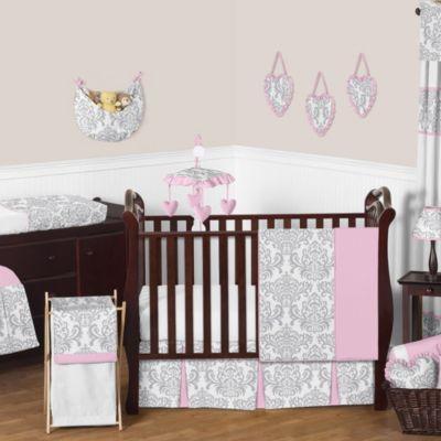sweet jojo designs elizabeth 11piece crib bedding set in pinkgrey