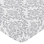 Sweet Jojo Designs Elizabeth Damask Fitted Crib Sheet in Grey/White