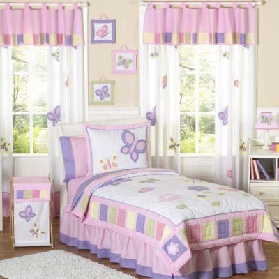 Sweet Jojo Designs Butterfly 4 Piece Twin Bedding Set In Pink/Purple