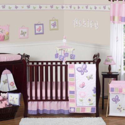 Sweet Jojo Designs Butterfly 11 Piece Crib Bedding Set In Pink/Purple