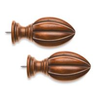 Cambria® Classic Wood Fluted Finial in Medium Brown (Set of 2)