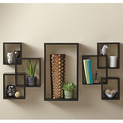 7 Piece Interlocking Wall Shelf Set In Cosmo Black Bed