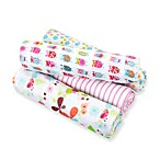 aden® by aden + anais® for Zutano 4-Pack Cotton Muslin swaddleplus® Blanket in Owl/Pink