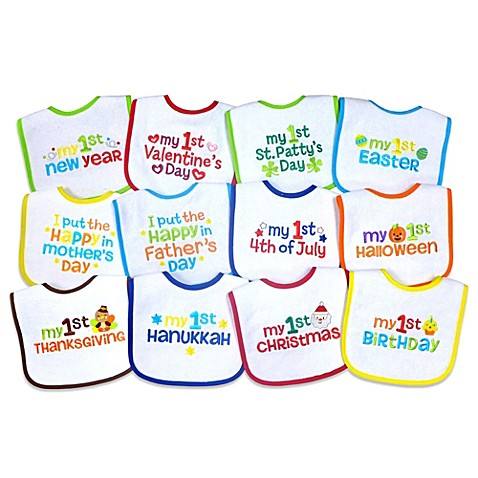 Neat Solutions 174 12 Pack Baby S 1st Year Holiday Bib Set