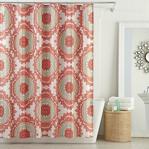 Curtains Ideas bed bath and beyond bathroom curtains : Anthology™ Bungalow Shower Curtain in Coral - Bed Bath & Beyond