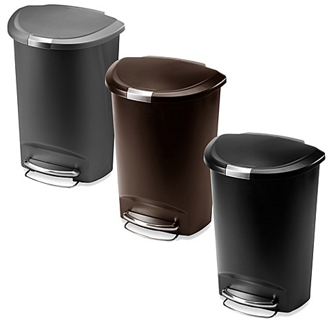 Simplehuman 174 Plastic Semi Round 50 Liter Step On Trash Can