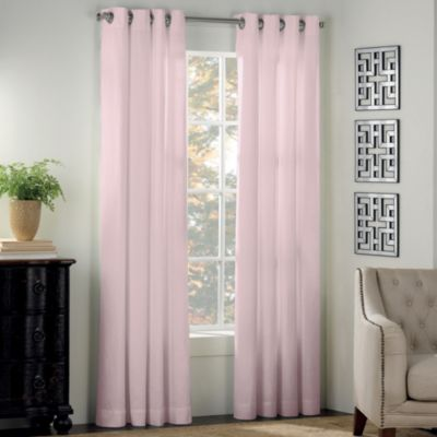 Newport 84 Inch Grommet Window Curtain Panel In Light Pink