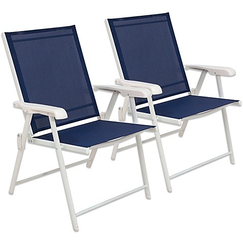 Hawthorne Folding Sling Chairs In Blue Set Of 2 Bed