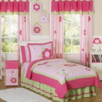 Sweet Jojo Designs Flower 4-Piece Twin Bedding Set in Pink/Green