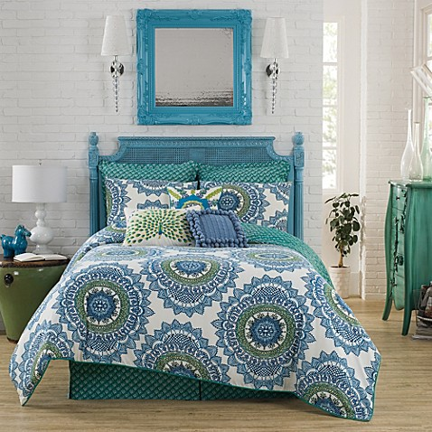 Anthology bungalow reversible comforter set in teal bed for Teal bath sets