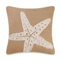 Burlap Starfish Embroidery Square Throw Pillow