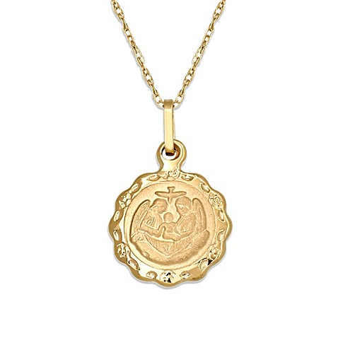 medallion amazon religious dp charm gold polished yellow pendant wellingsale baptism com jewelry