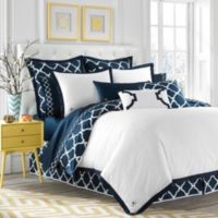 Jill Rosenwald Hampton Links Reversible Twin Duvet Cover in Navy/White