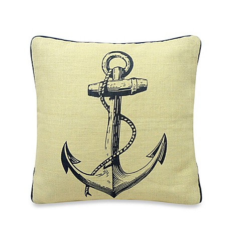 Penzance Anchor Print Square Throw Pillow