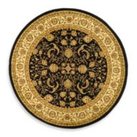 Safavieh Lyndhurst Scroll Pattern 5-Foot 3-Inch Round Rug in Black and Ivory
