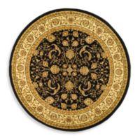 Safavieh Lyndhurst Scroll Pattern 8-Foot Round Rug in Black and Ivory
