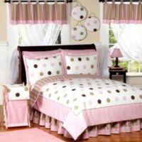 Sweet Jojo Designs Mod Dots 4-Piece Twin Comforter Set in Pink/Chocolate