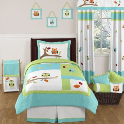 Sweet Jojo Designs Hooty 4 Piece Twin Bedding Set In Turquoise And Lime