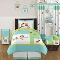 Sweet Jojo Designs Hooty 4-Piece Twin Bedding Set in Turquoise and Lime