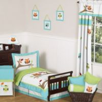 Sweet Jojo Designs Hooty 5-Piece Toddler Bedding Set in Turquoise/Lime