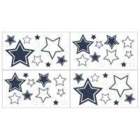 Sweet Jojo Designs Hotel Wall Decals in White/Navy (Set of 4)