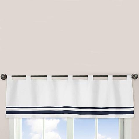 Sweet Jojo Designs Hotel Window Valance In White Navy Bed Bath Beyond