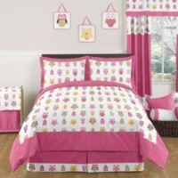 Sweet Jojo Designs Happy Owl 3-Piece Full/Queen Bedding Set in Pink