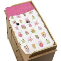 Sweet Jojo Designs Happy Owl Changing Pad Cover in Pink
