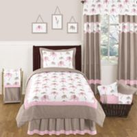Sweet Jojo Designs Mod Elephant 4-Piece Twin Comforter Set in Pink/Taupe