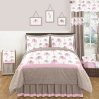 Sweet Jojo Designs Mod Elephant 3-Piece Full/Queen Comforter Set in Pink/Taupe