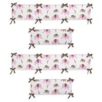 Sweet Jojo Designs Mod Elephant 4-Piece Crib Bumper Set in Pink/Taupe