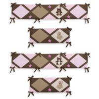 Sweet Jojo Designs Teddy Bear 4-Piece Crib Bumper in Pink/Chocolate