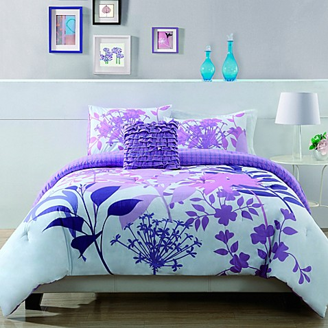 Lavender Shadow Botanical Comforter Set