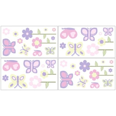 Sweet Jojo Designs Butterfly Wall Decal Stickers In Pink/Purple