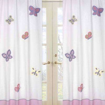 Beautiful Sweet Jojo Designs Butterfly Window Curtain Panel Pair In Pink/Purple