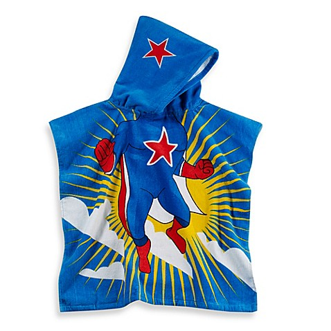Kids Printed Superhero Hooded Beach Towel In Multi Blue