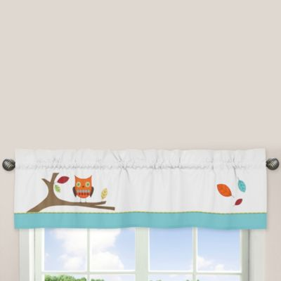 Sweet Jojo Designs Hooty Window Valance In Turquoise Lime