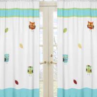 Sweet Jojo Designs Hooty Window Panel Pair in Turquoise/Lime